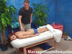 Nice blonce girl seduced in massage room