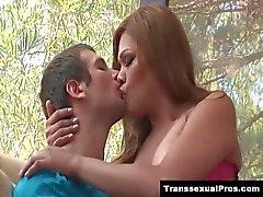 TS Carmen Moore gives her man a BJ he loves