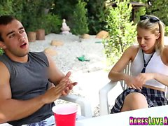 Zoey Monroes hot deep throat blowjob for step bro