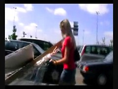 Blonde amateur public blowjob for cash from a stranger