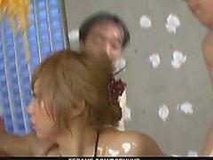 Naughty babe in micro bikini gagging and screwed