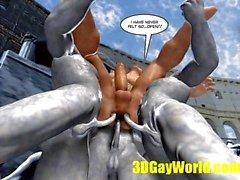 веселый конкурс попка причудливыми партии 3D мультфильм комические