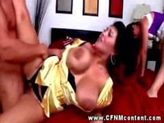CFNM mature babes giving a blowjob