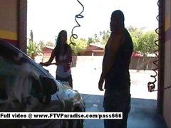 Awesome Busty Girl Washing A Car