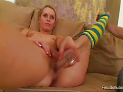 Flexible sexy doll gets huge glass dildo insertions