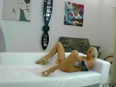 hot blonde babe gets to be doggy style fucked