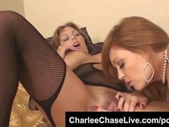 Big tit MILF Charlee Chase loves licking big tits!