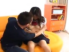 Hot asian teen gives blowjob with facial