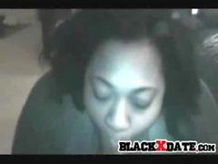 Big ebony ex girlfriend sucks big black cock