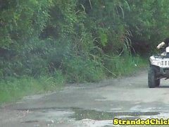Stranded ebony fucks driver after sucking