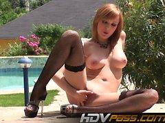 Outdoor pussy masturbation in high heels