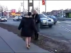 Sexy lesbian kiss and lick in public