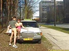 Teen gets cum next to Taxi car