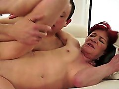 Super hot granny fucks young boyfriend
