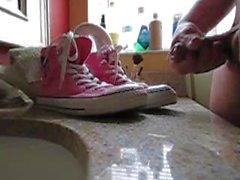 Slo-mo cum on sneakers ( pink converse chucks.)