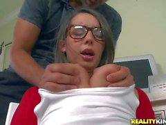 Sexy bookworm Sally Charles takes on cock