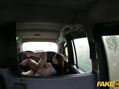 Hardcore Backseat Fucking inside a taxi with sexy Sam