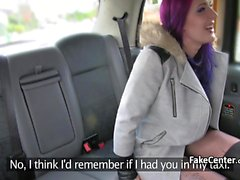 Pink hair babe anal fucked in taxi