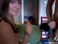 Loving brunette gives blowjob - lickmycams