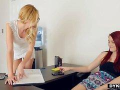 Dyked Nerdy Blonde Tutor Dominates hot Student