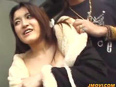 Big titted Mayu gets banged hard from behind in public