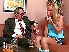 Young gal is being ravished by a lusty older chap