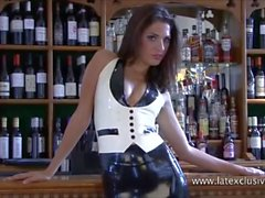 Uniform latex babe Olivias fetishwear and long rubber boots kink of beauty