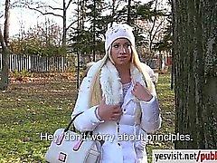 Amateur blonde Eurobabe Kiara drilled in public for money