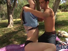 Wonderful Lily gets fucked hard outdoors