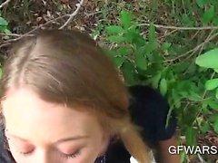 Blonde GF giving blowjob outdoor