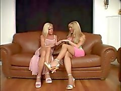 Blonde tranny and girl