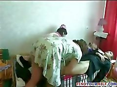 Amateur Russian family orgy