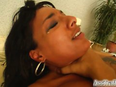 Loona is a sexy chick with a massive clit. Two guys pound