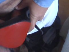 Double cock cum in wife's pump shoes - 4th meet