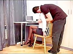 Fucking the secretary in ripped up sheer crotchless nylons
