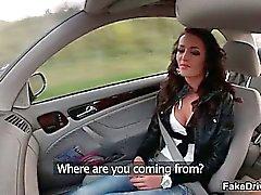 Hot brunette babe sucks on a cock