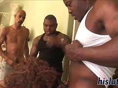 Raunchy vixen participates in a kinky blowgang