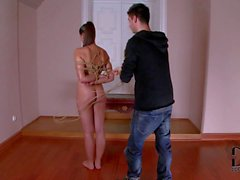 Naked big meloned Zafira gets tied up in the middle of the room