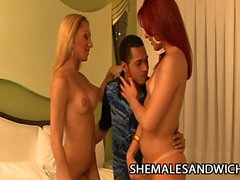 Joy Spears and Milena Bysmarck - Hot Shemales Banging A Dude