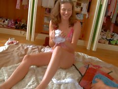 Teen Octavia in stockings gets her feet fucked