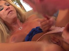 Blonde mature big tits and long leg in heels fucks great