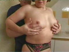 Brunette British granny is getting fingered and banged with a handjob