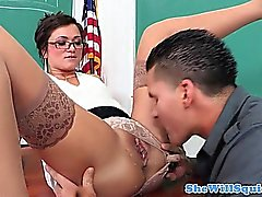 Squirting teacher Cece Stone cock drools