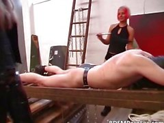 German BDSM play where two sluts spank