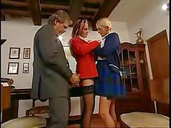 Fucking his collegue and his student in the ass