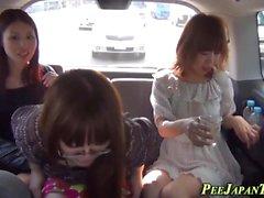 Kinky teens pee in taxi