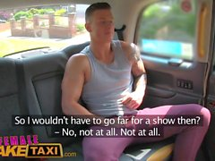 Female Fake Taxi Sexy male stripper cums in her mouth