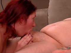 Redhead amateur gives awesome blowjob