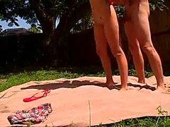 Tight ass kinky blode with big boobs masturbates outdoor