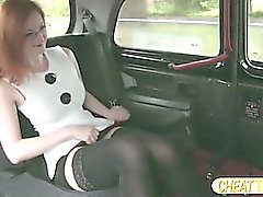 Red haired Zara shows her pussy and gets fucked in taxi for a free cab fare